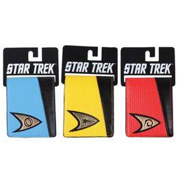 2019 billetera azul Al por mayor-Star Trek Bi-fold Wallet con etiqueta azul amarillo rojo rebajas billetera azul