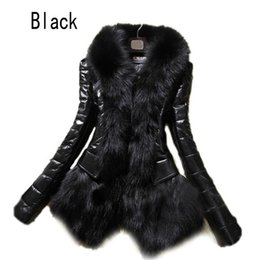 Wholesale Hot Black Leather Jackets Women - Wholesale- 2017 Hot Luxury Women's Faux Fur Coat Leather Outerwear Snowsuit Long Sleeve Jacket Black Fashion Free Shipping