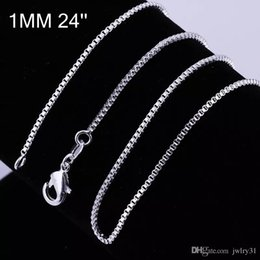 "Wholesale Italian 925 - 1MM 925 Sterling Silver Box Chain Necklace Italian Jewelry Necklace 16"" 18"" 20"" 22"" 24"" Lobster Clasp"