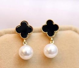 Wholesale China Pearl White - Earring with four leaf clover and pearls,noble delicate and beautiful for women wedding, engagement, free shipping and high quality