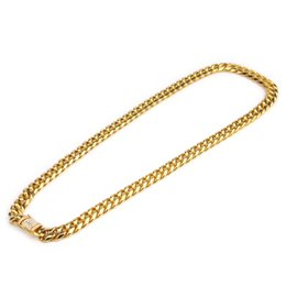 Wholesale Men Silver Cuban Link Chain - 10mm Men Cuban Miami Link Necklace Stainless steel Rhinestone Clasp Iced Out Gold Silver Hip hop Chain Necklace 76cm