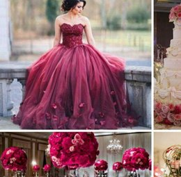 Wholesale Gown Embellished Sweetheart - Dark Red Ball Gown Prom Dresses Sweetheart Lace Tulle Petal Embellished Floor Length Evening Gowns 2017 Sweet 16 Dresses