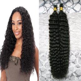 Wholesale Deep Wave I Tip - #1 Jet Black I Tip Human Hair Extensions 100s 100% Brazilian Remy Fusion Hair Extensions Capsules 100g deep wave keratin tip hair extension