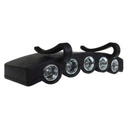 Durevole 5 LED Cap Hat Brim Clip Luce bianca Camping Pesca nero Strumento faro principale del faro da