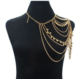 Wholesale Layered Body Chain Necklace - Wholesale- Sexy Shoulder Body Chain Necklace Women Multi Layered Body Accessories Shoulders Fashion Jewelry 2017