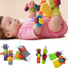 Wholesale Socks Wholesale Products - Baby products Fashion New arrival baby rattle baby toys Lamaze plush Garden Bug Wrist Rattle+Foot Socks 4 Styles 120set lot Free Shipping