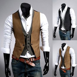 Wholesale Mens Double Breasted Vests - New Style Men's Vests Fashion Plaid Pattern Slim Fit Vest Men Faux Two Piece Male Social Vest Casual Mens Outerwear Vests M-XXL
