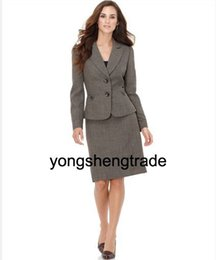 Wholesale Dark Blue Wool Skirt - New Style Women Suit Gray Ladies Suits Two Button Jacket & Skirt Accept Custom Made 455