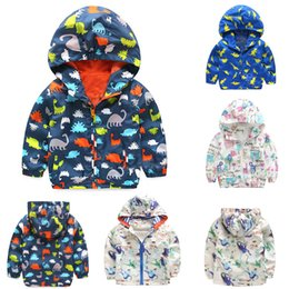 Wholesale Elephant Print Hoodie - Boys Girls Jackets Scrawl Boys Girls Coats Elephant Printed Hoodies Outwear Zip Top Baby Clothes#20170213-3 Drop Shipping