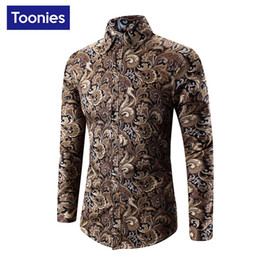 Wholesale Printed Casual Dresses Designs - Wholesale- New Design Autumn Men's Shirt Long Sleeve Dress Shirts Casula Flower Chemise Homme Single Breastged Camisa Social Brand Clothing