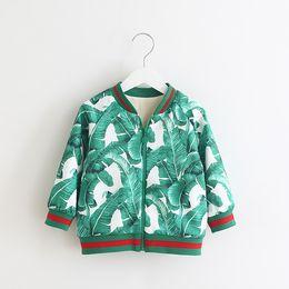 Wholesale Wholesale Designer Winter Jackets - Floral Printings Bomer Jackets for Girl 2017 winter jackets girls with Fleece manteau fille Designer Brand Boutique Toddler Coat