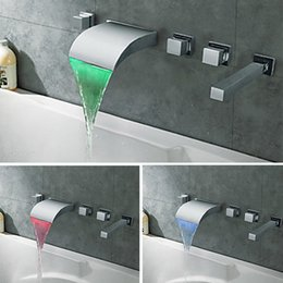 Wholesale Bathtub Led - Modern Roman LED Bathtub Hot Tub Faucet Waterfall with Ceramic Valve 3 Handles 5 Holes for Chrome Finished tub Spigot
