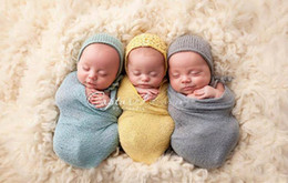 Wholesale 2016 New Newborn Baby Swaddles Receiving Blankets Cotton Yarn Elastic Blankets Photography props cm