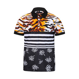 Wholesale Beads Embroidery Clothes - 2017 Spring luxury T-shirt tee High street whtie Nail bead galeries lafayette printing fashion clothing black white tiger Men polo shirt