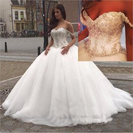 Wholesale Wedding Bridals - 2018 Off The Shoulder Ball Gown Wedding Dresses Gorgeous Vestido De Novia Tulle Beaded Crystals Sweep Train Bridals Gowns
