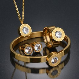 Wholesale Pink Wedding Ring Sets - Top Quality 316l Stainless Steel Anniversary Jewelry Set 18k Gold Plated Earring Necklace Bracelet Ring Jewelry Set Wedding Gift