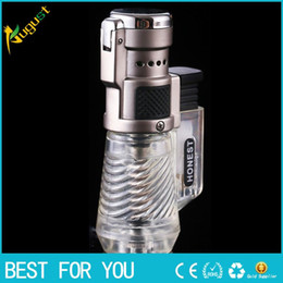 Wholesale Windproof Refillable Butane Torch Lighter - HONEST Clear Windproof Triple Refillable Butane Jet Flame Torch Cigar Lighter Gas Butane Cigarette With Gift Box