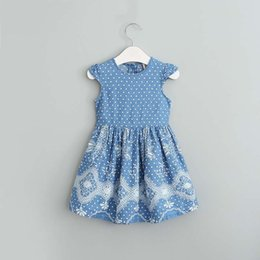 Lunares denim online-Everweekend Girls Denim Floral Dress Ruffles Bow Dress Princesa Sweet Polka Dots Princess Party Dress Niños Ropa linda