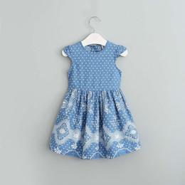 Wholesale Blue Polka Dots Tutu Dress - Everweekend Girls Denim Floral Dress Ruffles Bow Dress Princess Sweet Polka Dots Princess Party Dress Children Cute Clothing