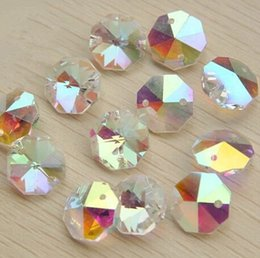 Wholesale Glass Inlays - pendant lighting parts 1000pcs AB14mm octagon beads 2 holes glass chandelier parts crystal crystal lighting beads prism pendants