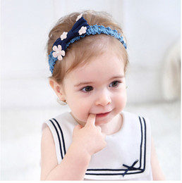 Wholesale Flower Heads For Hair Bows - Hot sale Headbands For Girls Flower Bow Baby Headbands floral headband Head Bands Infants Childrens Hair Accessories kids hair band A759