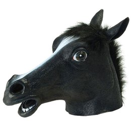 Wholesale Realistic Animal Costumes - Full Head Masks Horse Head Mask Creepy Fur Mane Latex Realistic Crazy Rubber Super Creepy Party Halloween Costume Animal Mask