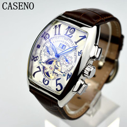 Wholesale Mechanical Time - CASENO Automatic Mechanical Men Watch Fashion Skeleton Leather Military Watch Mens Hong Kong Top Brand Luxury Tourbillon Watch Classic Men