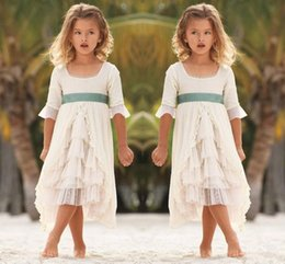 Wholesale Kids Models China - 2017 square neck flower girls dresses for beach weddings half sleeve tiered kids pageant gowns formal wear communion dress custom made china