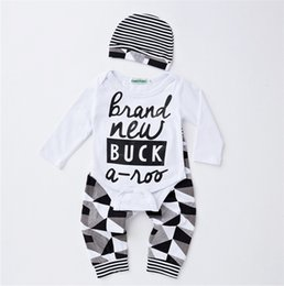 Wholesale Cute Baby Boy Pajamas - INS Boys Girls Baby Rompers Clothing Sets Cute Letters Baby Onesies Harem Pants Hats Newborn Romper Leggings Toddler Pajamas Clothes