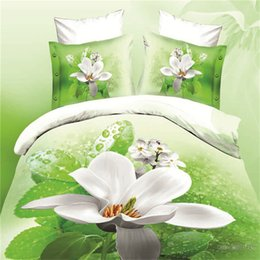 Wholesale Green White Flowered Quilt - White Flower Green Water 3d Oil Painting Bedding Sets Cotton Duvet Quilt Cover Set Bed Linen Pillowcase Bed in a Bag Queen Size