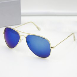 Wholesale Men Brown Titanium - Classic Pilot Sunglasses Men Women Brand Designer Sun glasses with original packages