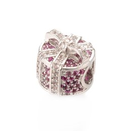 Wholesale Pandora Bead Gift Box - 2017 New Design Gift Box Silver CZ Pave Beads Zircon Micro Pave Beads Fit Pandora Bracelet ICPD023 Size 9.4*10.6mm