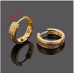 Wholesale Gold Hoop Earrings Jewelry - 2 pair lot basic style 24k Gold Plated Ear Hook brass material Stud Earrings Jewelry for Men Women gold plated 2 years guarantee