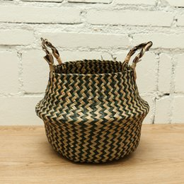 Wholesale Organize Homes - Natural Rattan Flower Basket Planter Basket Organize Black Foldable Seagrass Basket Laundry R Home Garden Decor Nursery Pots