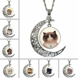 Wholesale Moonlight Silver - High quality Breaking cartoon cat moonlight gemstone necklace WFN180 (with chain) mix order 20 pieces a lot