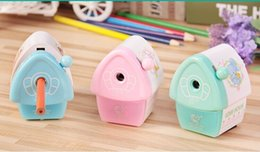 Wholesale Office Environmental - Wholesale- Free Shipping 2Pieces lot Kawaii Cartoon Environmental House Creative Pencil sharpener Office SchoolStudent Stationery Supplies