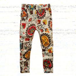 Wholesale Linen Pants Wholesale - Wholesale-SYB 2016 Summer Men's Fashion pants Flower print slim casual Pattern pants men Linen Trousers Joggers Nine minutes Pants MK10