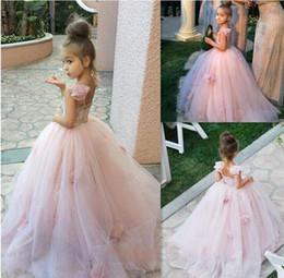 Wholesale Girls Puffy White Bridesmaid Dress - Pretty A-Line Flowers Girl Dresses Blush Pink Tulle Flowers Junior Bridesmaid Gown Puffy Toto Baby Little Girls Dress