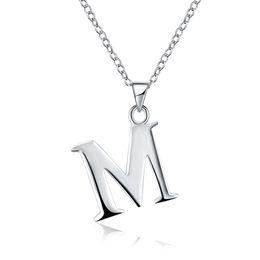 Wholesale T P Wholesale - Funny English Letters 925 Silver Plated Women's Necklace Pandants Necklace Link Chains 45cm Length G M P Q R T U V W X Y