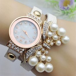 Wholesale Leather Band Bracelet Bangle Watch - Fashion Rhinestone Belt Quartz Watch Women Diamond Pearl Butterfly Layers Leather Bands Wristwatch Bracelets Bangle Charm Jewelry Gift