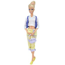 Wholesale Ethnic Wear Clothing - E-TING Doll Clothes Casual Wear Ethnic Style Vest +Blouse + Yellow Flare Pants Doll Accessories Handbag + Doll Shoes Free Gift