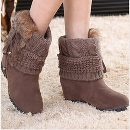 Wholesale Orange Values - 2017 Women Ankle Boots for Rabbit Fur New Fashion Waterproof Wedge Platform Winter Warm Snow Boots Shoes For Female Low Value