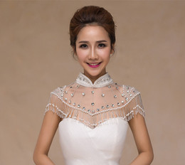 Wholesale shoulder shawl party - Sinicism High Collar Rhinestone Bridal Wraps Wedding Party Jewelry With Beading Tassel Bridal Accessories Shoulder Chain For Women's Shawls