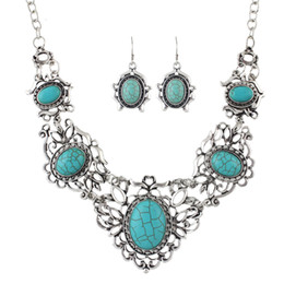 Wholesale Light Blue Stone Jewelry - Ethnic Jewelry Sets Antique Silver Color Big Blue Stone Flower Collar Maxi Necklace Female and Drop Earrings Vintage Accessories