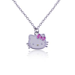 Wholesale Little Korean Jewelry - Wholesale- Korean Jewelry Korean Version Lady Lovely Original Single Full Of Rhinestone Necklace Little Hello Kitty Necklaces & Pendants