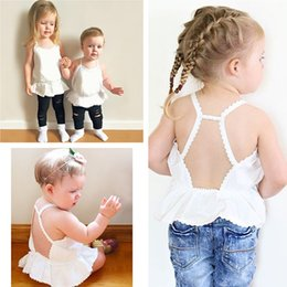 Wholesale Boat Tanks - INS Baby Tops Summer Girls Backless Tops Girl Dress Solid Color White Lace Cotton Tank Tops Mini Skirt Newborn Infant Kids Clothing 572