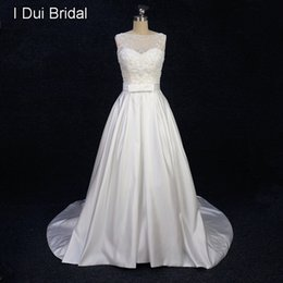 Wholesale Wedding Dress Simple Tied - A Line Satin Pearl Beaded Wedding Dress with Bow Tie Belt and Pocket Pleated Belt Illusion Tulle Lace Neck Real Photo Elliot