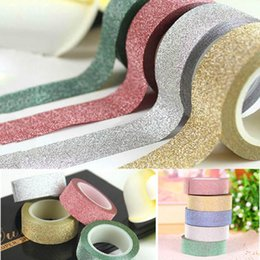 Wholesale Vinyl Card - 10m Glitter Washi Sticky Paper Masking Adhesive Tape Label DIY Craft Decorative for wedding  birthday card stickers