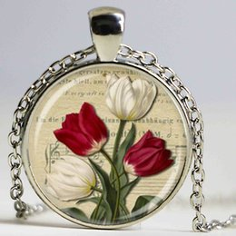 Wholesale Glass Tulip Flowers - New Red and White Tulip Necklace Spring Floral Pendant Art Glass flowers Necklace Glass Dome Pendant
