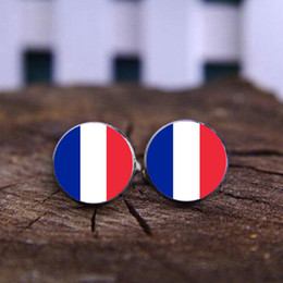 Wholesale Clothing Wholesalers France - Glass Cuff Shirt Buttons Captain France Flag Cufflink Keychain Clothing For Men Gift Hot Finland Flag Cufflinks Keychain For Wedding Jewelry